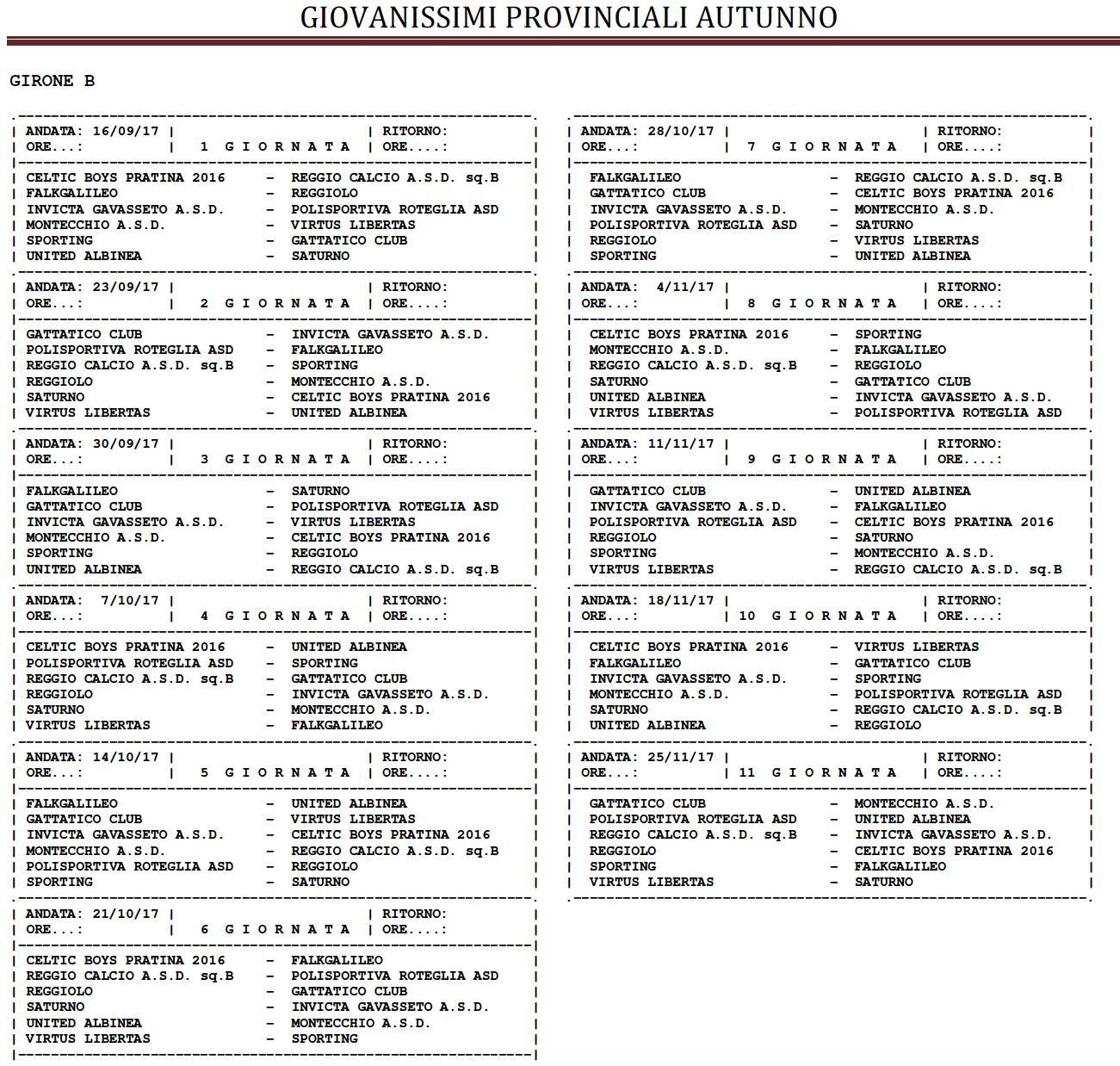 Calendario Giovanissimi Provinciali.Calendario Giovanissimi Provinciali Celtic Boys Pratina